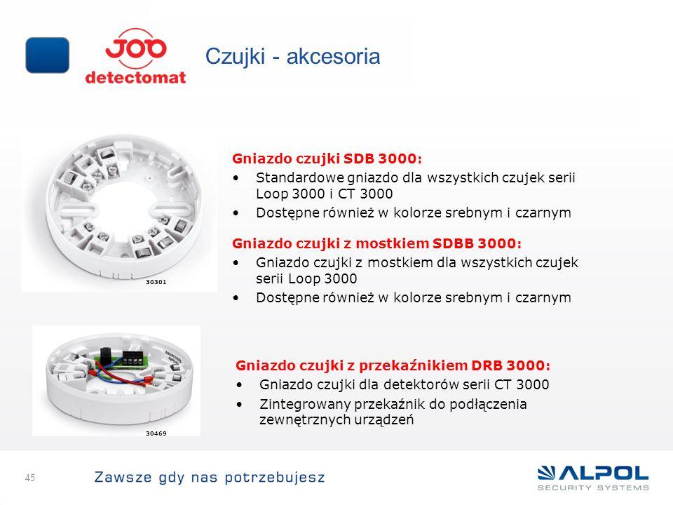 45 Czujki - akcesoria Gniazdo czujki SDB 3000: Standardowe gniazdo dla wszystkich czujek serii Loop 3000 i CT 3000 Dostępne również w kolorze srebnym