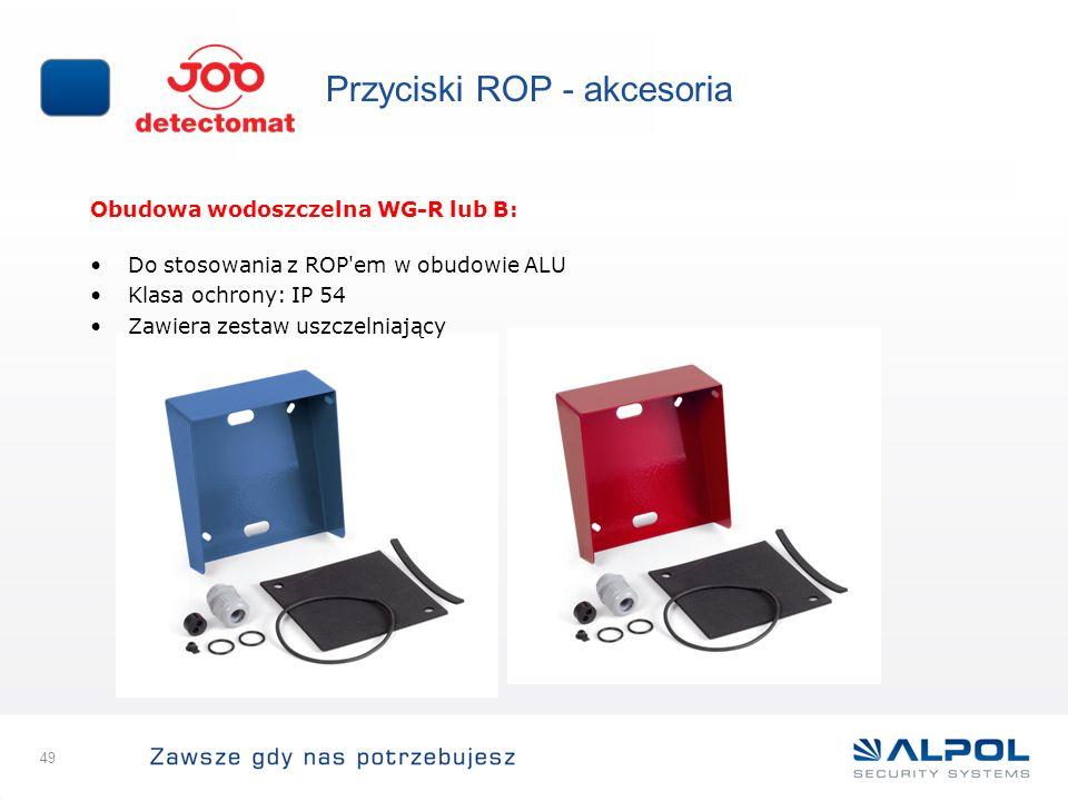 49 Przyciski ROP - akcesoria Obudowa wodoszczelna WG-R lub B: Do stosowania z ROP'em w obudowie ALU Klasa ochrony: IP 54 Zawiera zestaw uszczelniający