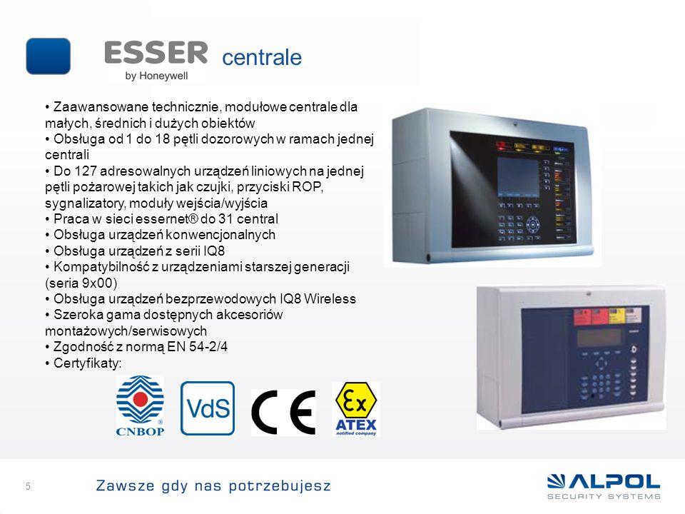 centrale 5 Zaawansowane technicznie, modułowe centrale dla małych, średnich i dużych obiektów Obsługa od 1 do 18 pętli dozorowych w ramach jednej cent