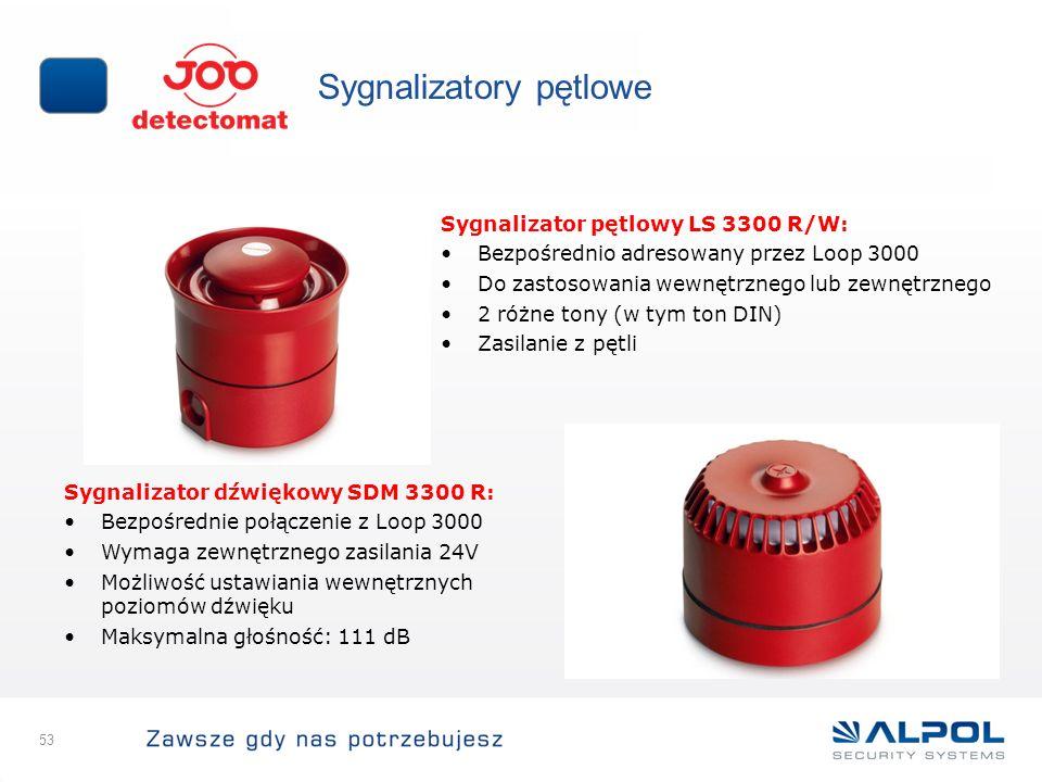 53 Sygnalizatory pętlowe Sygnalizator dźwiękowy SDM 3300 R: Bezpośrednie połączenie z Loop 3000 Wymaga zewnętrznego zasilania 24V Możliwość ustawiania