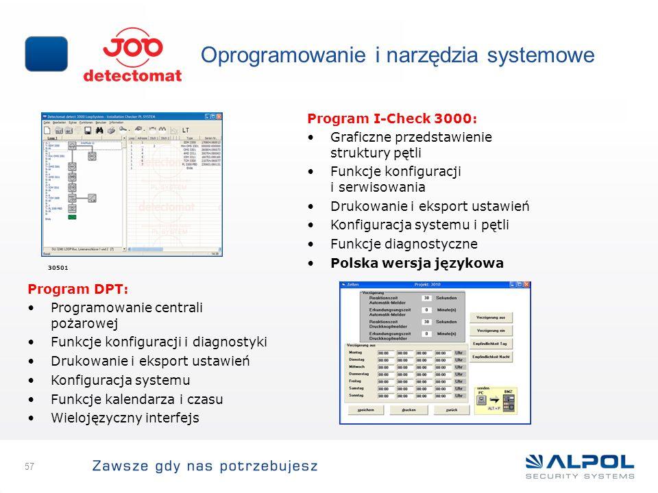 57 Oprogramowanie i narzędzia systemowe 30501 Program I-Check 3000: Graficzne przedstawienie struktury pętli Funkcje konfiguracji i serwisowania Druko