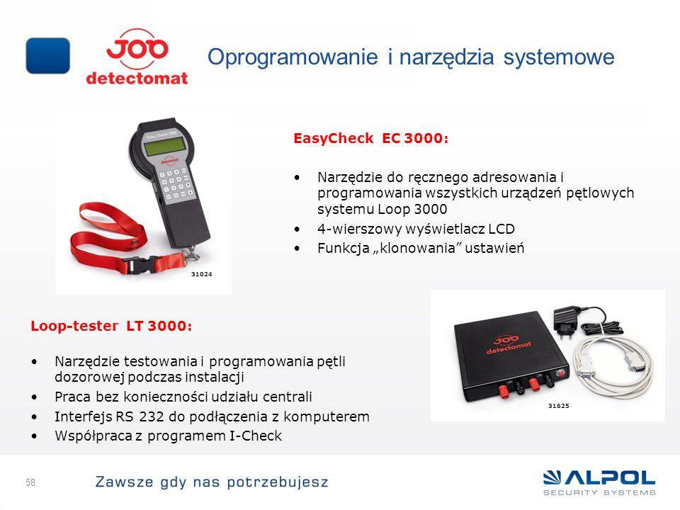 58 Oprogramowanie i narzędzia systemowe EasyCheck EC 3000: Narzędzie do ręcznego adresowania i programowania wszystkich urządzeń pętlowych systemu Loo