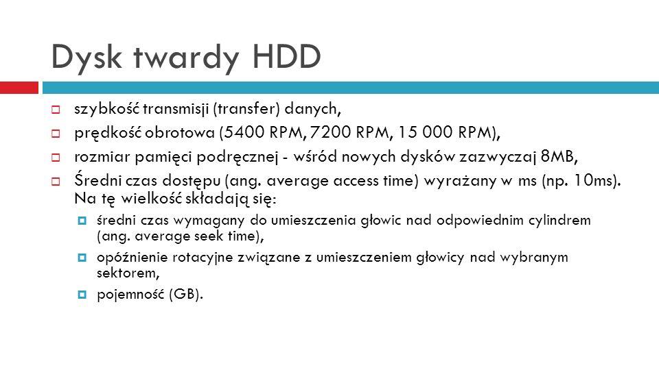 Dysk twardy HDD szybkość transmisji (transfer) danych, prędkość obrotowa (5400 RPM, 7200 RPM, 15 000 RPM), rozmiar pamięci podręcznej - wśród nowych d