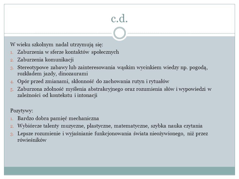 c.d.W wieku szkolnym nadal utrzymują się: 1. Zaburzenia w sferze kontaktów społecznych 2.