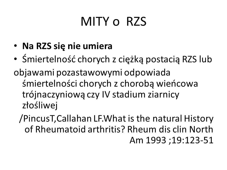 MITY o RZS Na RZS się nie umiera Śmiertelność chorych z ciężką postacią RZS lub objawami pozastawowymi odpowiada śmiertelności chorych z chorobą wieńcowa trójnaczyniową czy IV stadium ziarnicy złośliwej /PincusT,Callahan LF.What is the natural History of Rheumatoid arthritis.