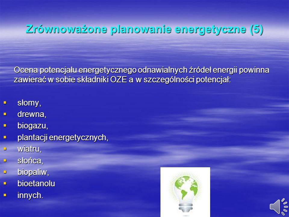 Zrównoważone planowanie energetyczne (4) W założeniach do planu dokonuje się analizy nośników energii dla stanu istniejącego oraz analizuje się czynni
