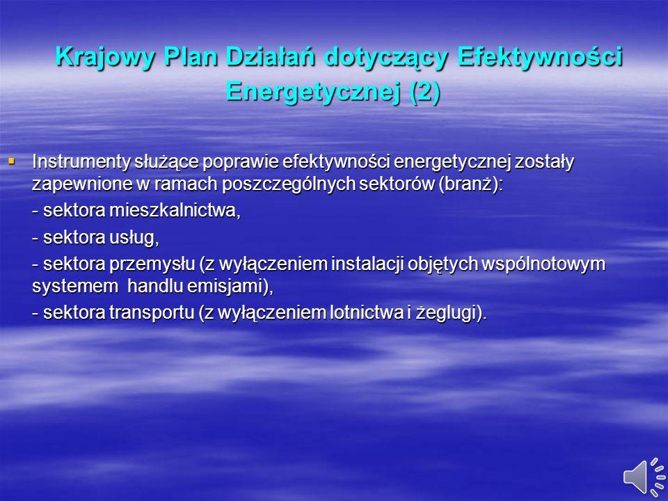 Krajowy Plan Działań dotyczący Efektywności Energetycznej (1) Krajowy Plan Działań dotyczący Efektywności Energetycznej (1) Dokument przyjęty w czerwc
