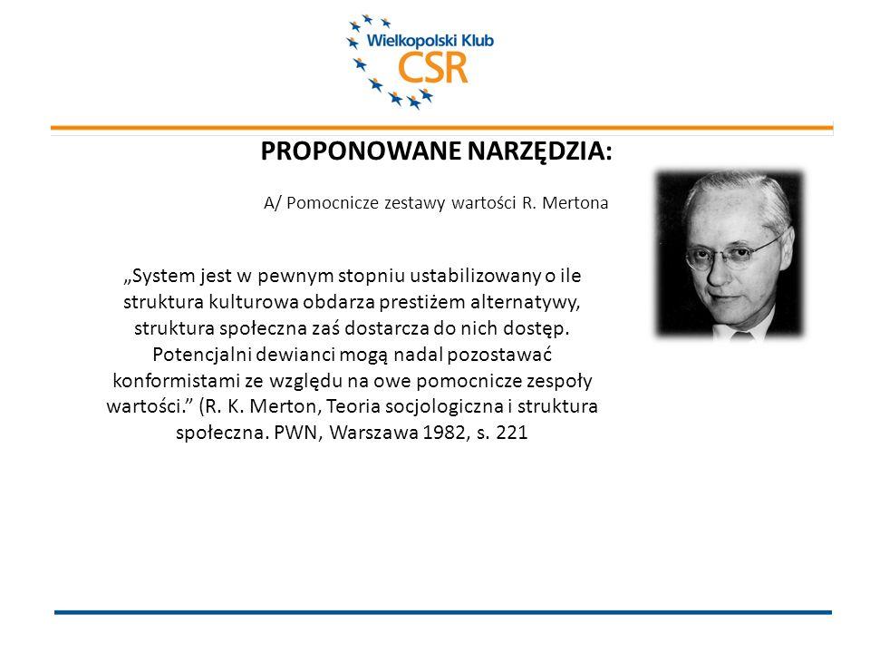 PROPONOWANE NARZĘDZIA: A/ Pomocnicze zestawy wartości R.