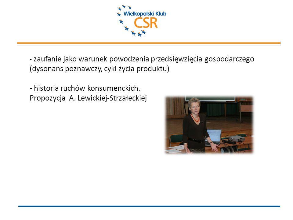 - zaufanie jako warunek powodzenia przedsięwzięcia gospodarczego (dysonans poznawczy, cykl życia produktu) - historia ruchów konsumenckich.