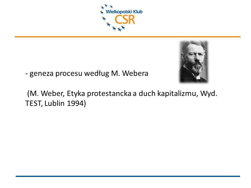 - geneza procesu według M. Webera (M. Weber, Etyka protestancka a duch kapitalizmu, Wyd.