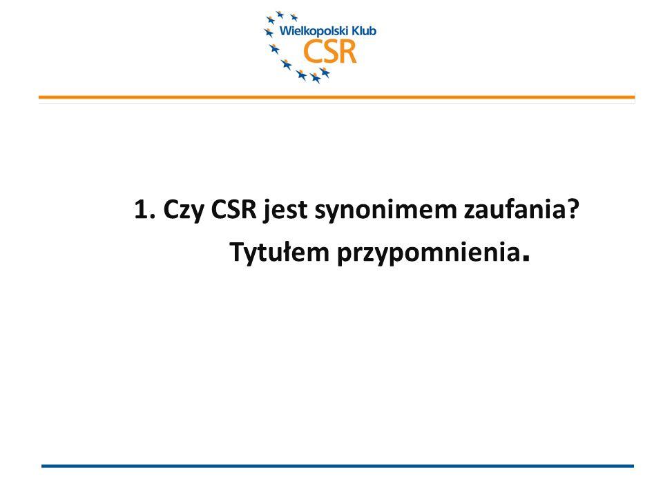 1. Czy CSR jest synonimem zaufania Tytułem przypomnienia.