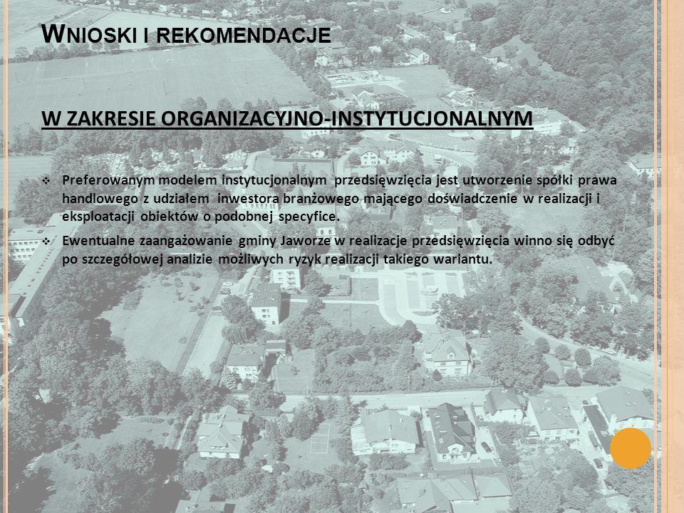 W NIOSKI I REKOMENDACJE W ZAKRESIE ORGANIZACYJNO-INSTYTUCJONALNYM Preferowanym modelem instytucjonalnym przedsięwzięcia jest utworzenie spółki prawa h