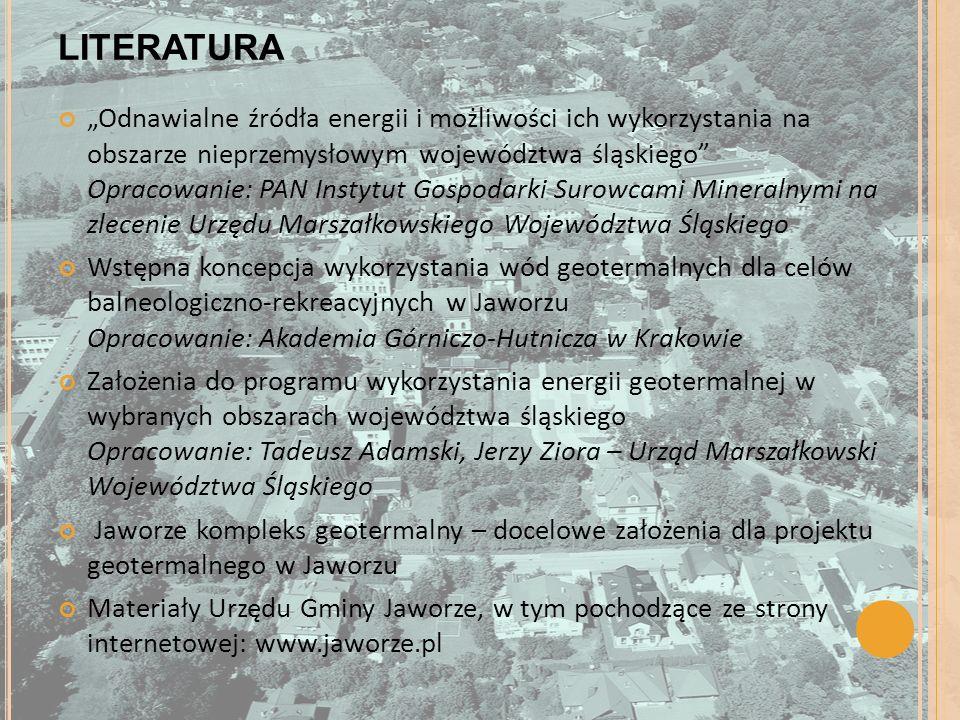 LITERATURA Odnawialne źródła energii i możliwości ich wykorzystania na obszarze nieprzemysłowym województwa śląskiego Opracowanie: PAN Instytut Gospod