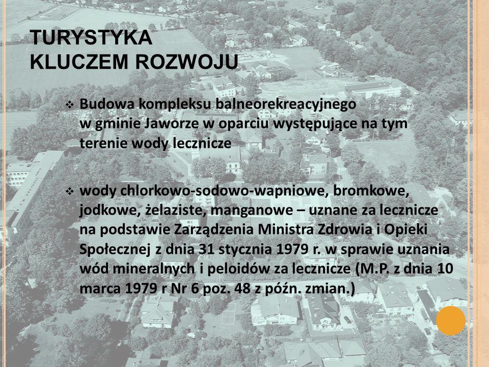 TURYSTYKA KLUCZEM ROZWOJU Budowa kompleksu balneorekreacyjnego w gminie Jaworze w oparciu występujące na tym terenie wody lecznicze wody chlorkowo-sod