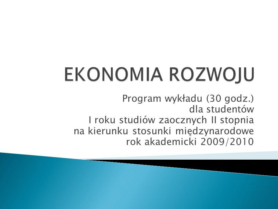 Program wykładu (30 godz.) dla studentów I roku studiów zaocznych II stopnia na kierunku stosunki międzynarodowe rok akademicki 2009/2010