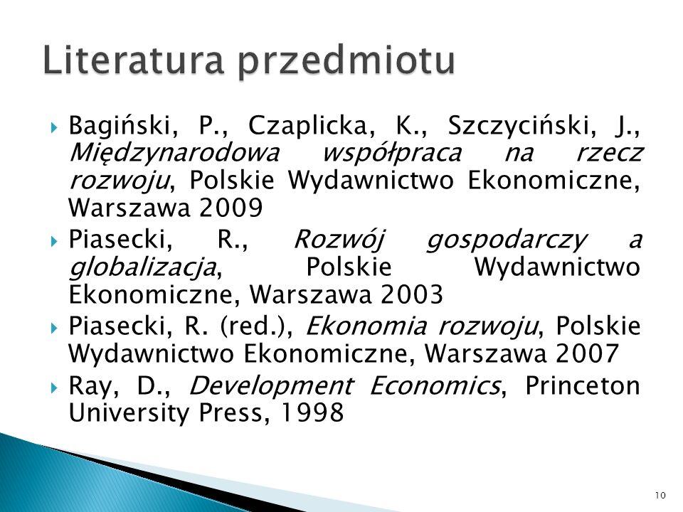 Bagiński, P., Czaplicka, K., Szczyciński, J., Międzynarodowa współpraca na rzecz rozwoju, Polskie Wydawnictwo Ekonomiczne, Warszawa 2009 Piasecki, R.,