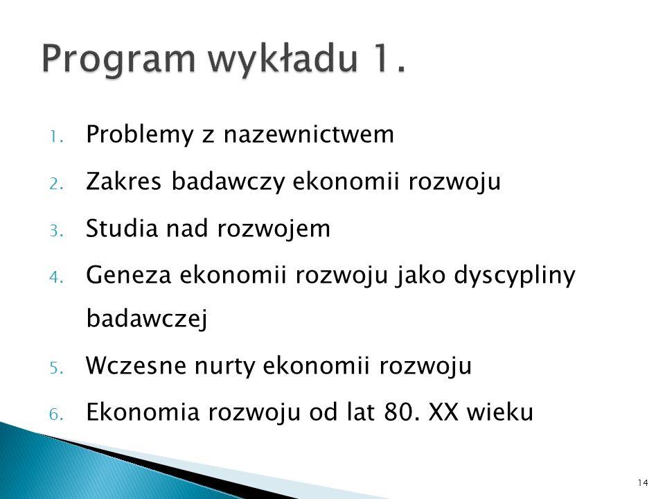 1. Problemy z nazewnictwem 2. Zakres badawczy ekonomii rozwoju 3. Studia nad rozwojem 4. Geneza ekonomii rozwoju jako dyscypliny badawczej 5. Wczesne
