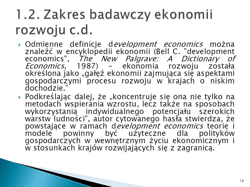 Odmienne definicje development economics można znaleźć w encyklopedii ekonomii (Bell C.