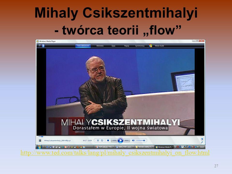 Mihaly Csikszentmihalyi - twórca teorii flow http://www.ted.com/talks/lang/pl/mihaly_csikszentmihalyi_on_flow.html 27