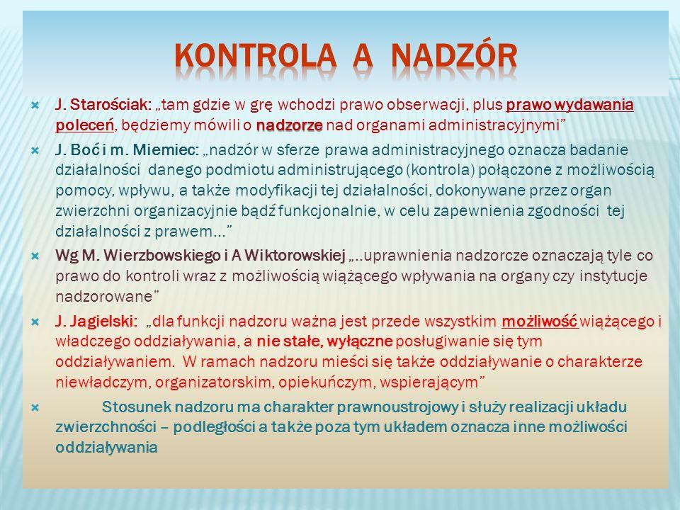 nadzorze J. Starościak: tam gdzie w grę wchodzi prawo obserwacji, plus prawo wydawania poleceń, będziemy mówili o nadzorze nad organami administracyjn