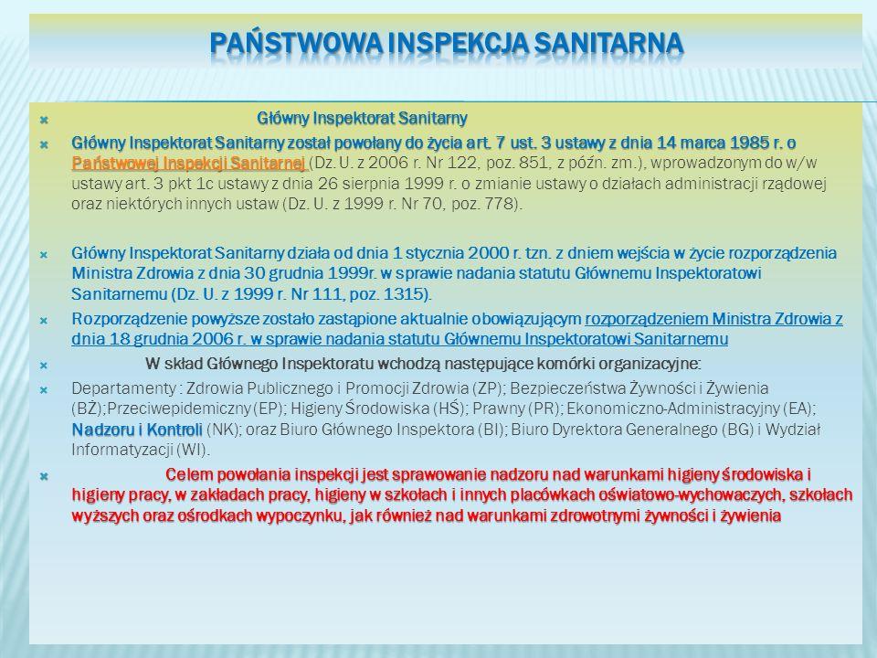 Główny Inspektorat Sanitarny Główny Inspektorat Sanitarny Główny Inspektorat Sanitarny został powołany do życia art. 7 ust. 3 ustawy z dnia 14 marca 1