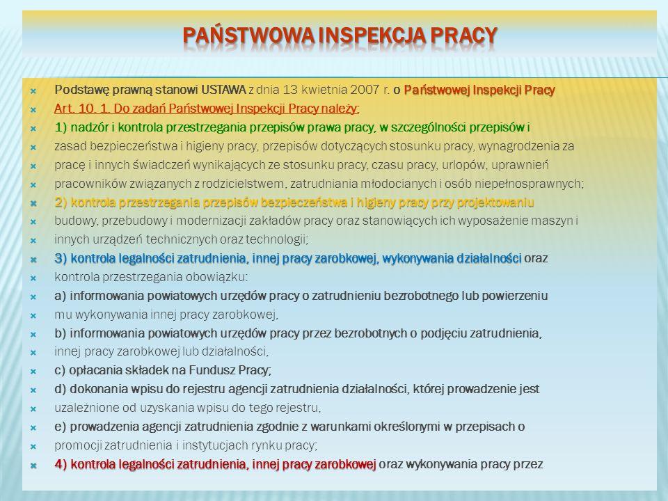 Państwowej Inspekcji Pracy Podstawę prawną stanowi USTAWA z dnia 13 kwietnia 2007 r. o Państwowej Inspekcji Pracy Art. 10. 1. Do zadań Państwowej Insp