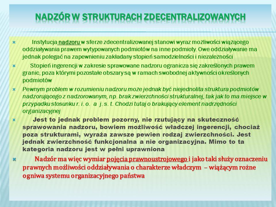 nadzoru Instytucja nadzoru w sferze zdecentralizowanej stanowi wyraz możliwości wiążącego oddziaływania prawem wytypowanych podmiotów na inne podmioty.