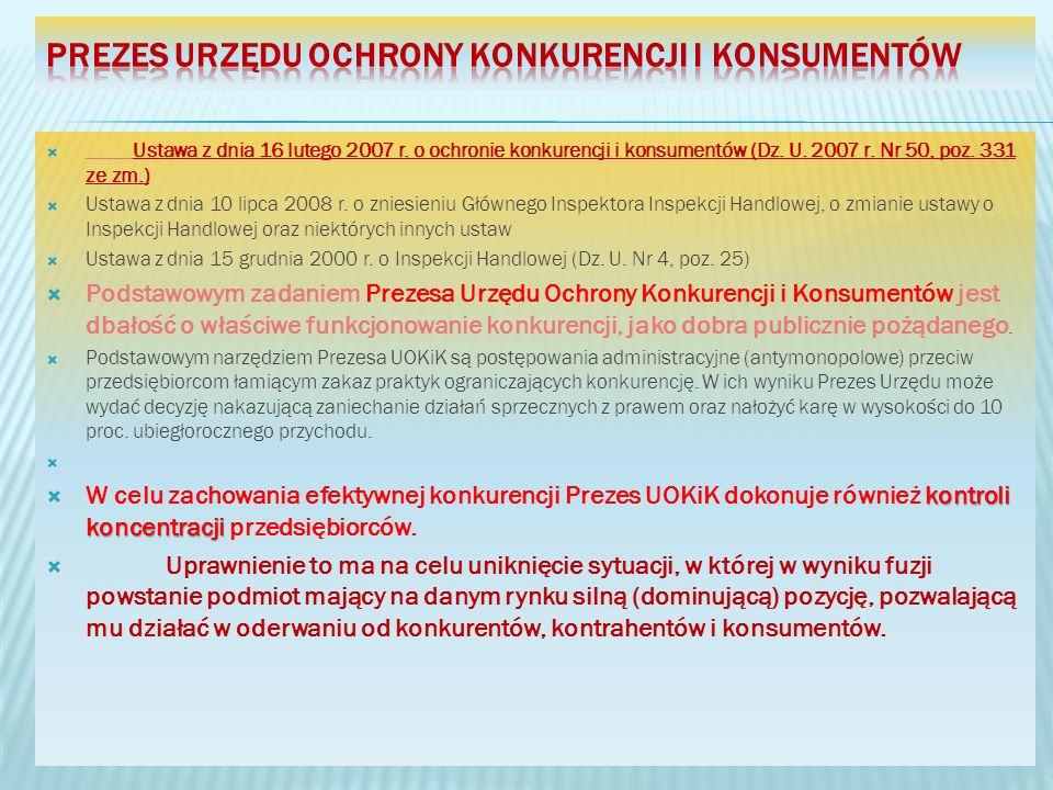 Ustawa z dnia 16 lutego 2007 r. o ochronie konkurencji i konsumentów (Dz. U. 2007 r. Nr 50, poz. 331 ze zm.) Ustawa z dnia 10 lipca 2008 r. o zniesien