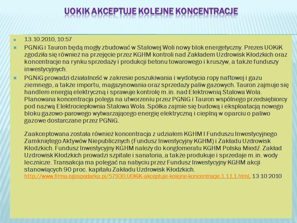 13.10.2010, 10:57 PGNiG i Tauron będą mogły zbudować w Stalowej Woli nowy blok energetyczny. Prezes UOKiK zgodziła się również na przejęcie przez KGHM