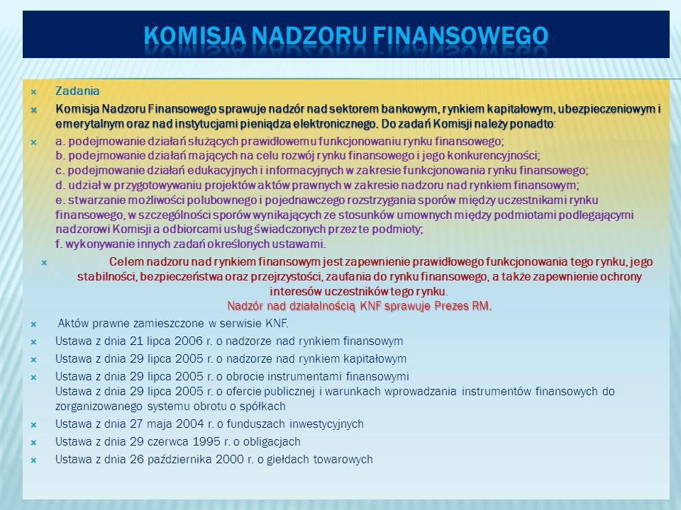 Zadania Komisja Nadzoru Finansowego sprawuje nadzór nad sektorem bankowym, rynkiem kapitałowym, ubezpieczeniowym i emerytalnym oraz nad instytucjami pieniądza elektronicznego.