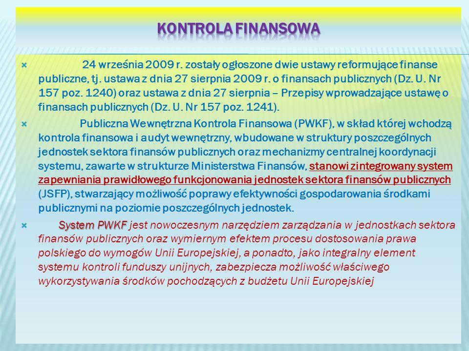 24 września 2009 r. zostały ogłoszone dwie ustawy reformujące finanse publiczne, tj. ustawa z dnia 27 sierpnia 2009 r. o finansach publicznych (Dz. U.