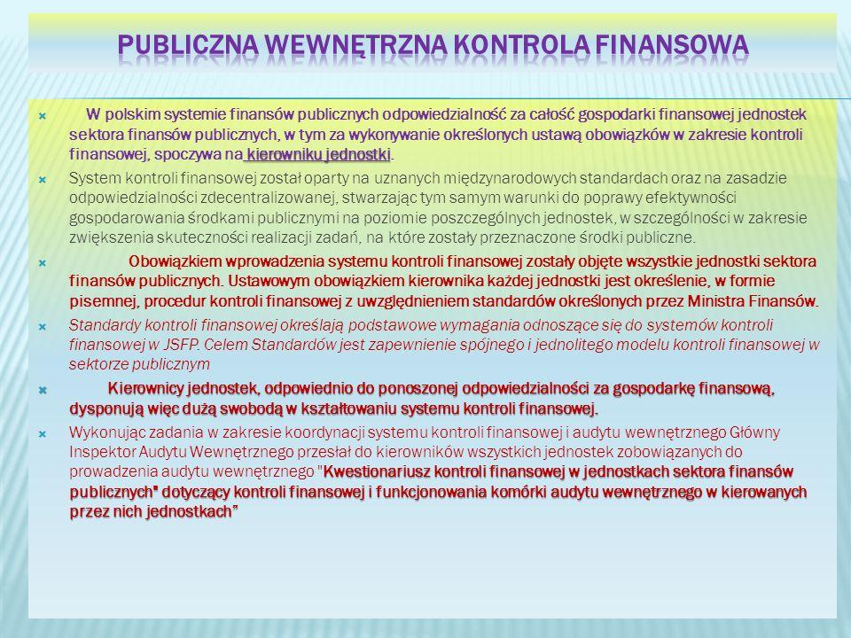 kierowniku jednostki W polskim systemie finansów publicznych odpowiedzialność za całość gospodarki finansowej jednostek sektora finansów publicznych, w tym za wykonywanie określonych ustawą obowiązków w zakresie kontroli finansowej, spoczywa na kierowniku jednostki.