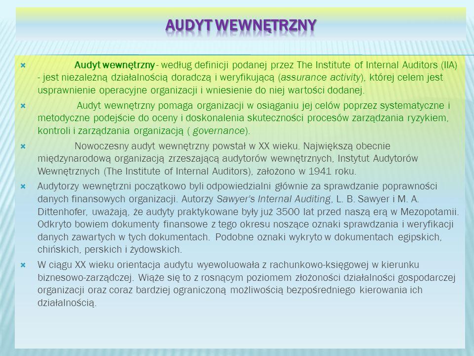 Audyt wewnętrzny - według definicji podanej przez The Institute of Internal Auditors (IIA) - jest niezależną działalnością doradczą i weryfikującą (as