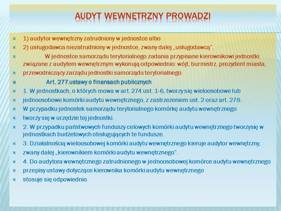 1) audytor wewnętrzny zatrudniony w jednostce albo 2) usługodawca niezatrudniony w jednostce, zwany dalej usługodawcą. W jednostce samorządu terytoria