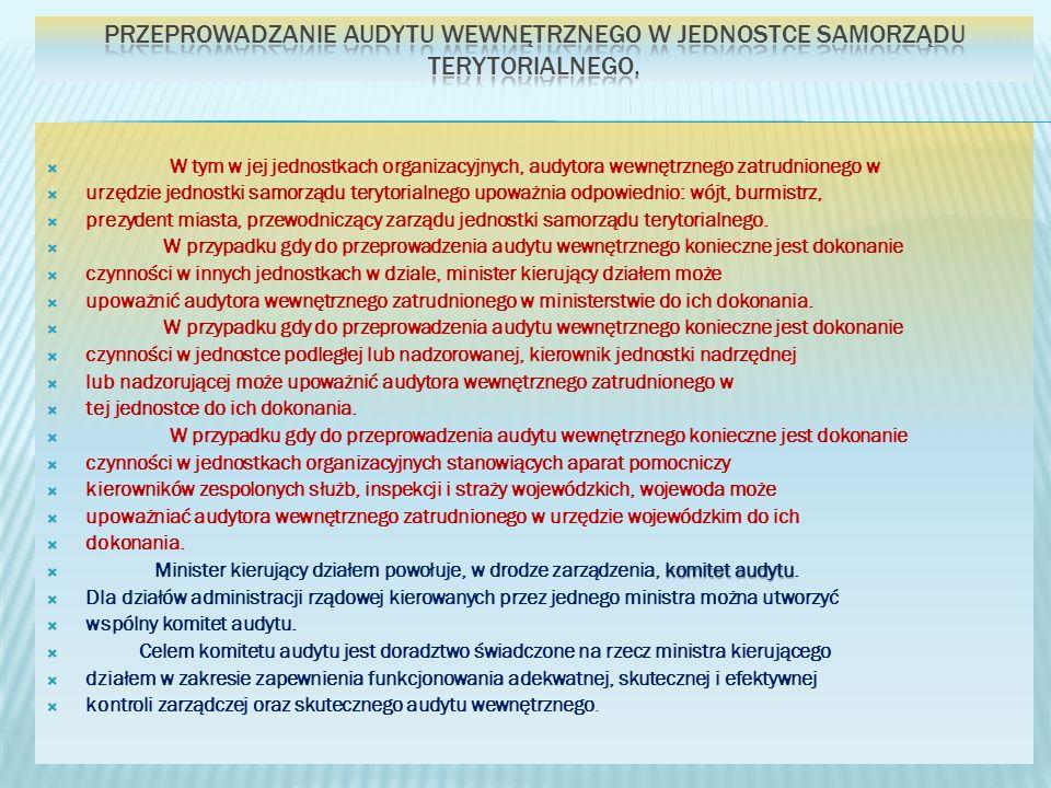W tym w jej jednostkach organizacyjnych, audytora wewnętrznego zatrudnionego w urzędzie jednostki samorządu terytorialnego upoważnia odpowiednio: wójt