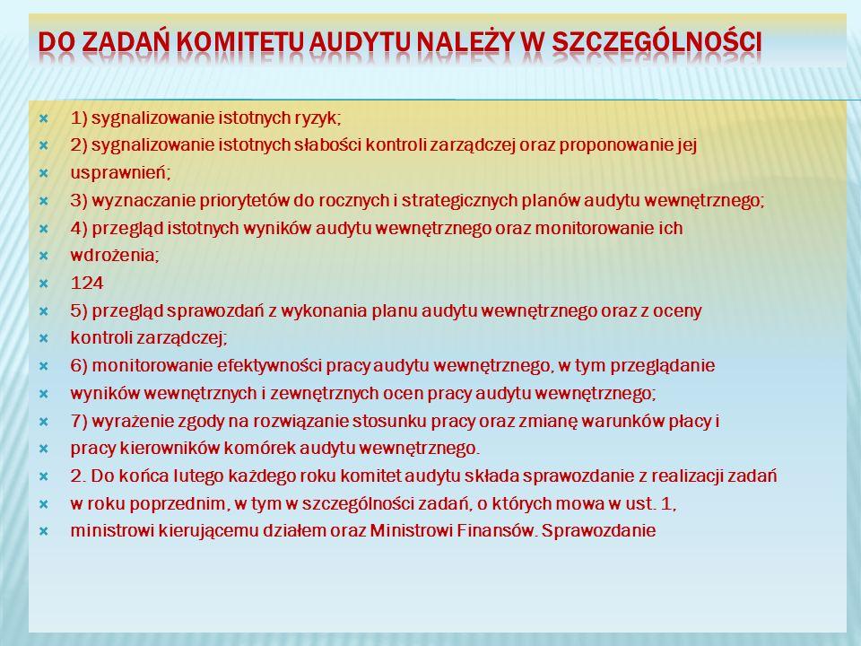 1) sygnalizowanie istotnych ryzyk; 2) sygnalizowanie istotnych słabości kontroli zarządczej oraz proponowanie jej usprawnień; 3) wyznaczanie priorytetów do rocznych i strategicznych planów audytu wewnętrznego; 4) przegląd istotnych wyników audytu wewnętrznego oraz monitorowanie ich wdrożenia; 124 5) przegląd sprawozdań z wykonania planu audytu wewnętrznego oraz z oceny kontroli zarządczej; 6) monitorowanie efektywności pracy audytu wewnętrznego, w tym przeglądanie wyników wewnętrznych i zewnętrznych ocen pracy audytu wewnętrznego; 7) wyrażenie zgody na rozwiązanie stosunku pracy oraz zmianę warunków płacy i pracy kierowników komórek audytu wewnętrznego.