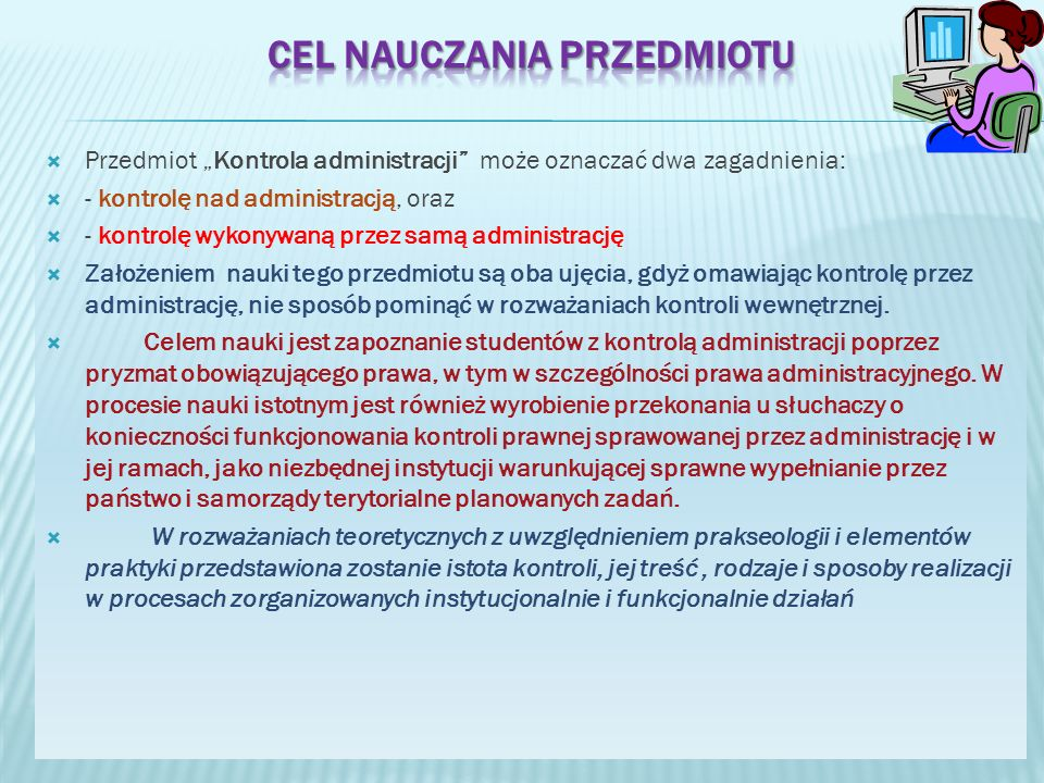 Najwyższa Izba Kontroli kontroluje wykonanie budżetu, gospodarkę finansową i majątkową Najwyższa Izba Kontroli kontroluje wykonanie budżetu, gospodarkę finansową i majątkową Kancelarii Prezydenta Rzeczypospolitej Polskiej, Kancelarii Sejmu, Kancelarii Senatu, Trybunału Konstytucyjnego, Rzecznika Praw Obywatelskich, Krajowej Rady Radiofonii i Telewizji, Generalnego Inspektora Ochrony Danych Osobowych, Instytutu Pamięci Narodowej - Komisji Ścigania Zbrodni przeciwko Narodowi Polskiemu, Krajowego Biura Wyborczego, Sądu Najwyższego, Naczelnego Sądu Administracyjnego oraz Państwowej Inspekcji Pracy.