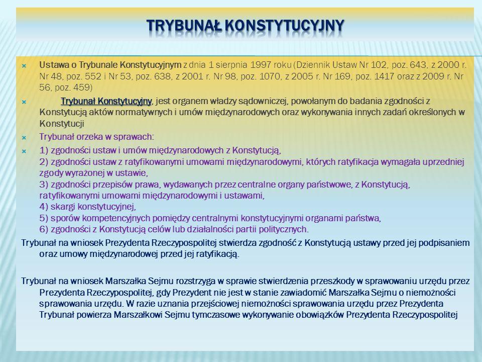 Ustawa o Trybunale Konstytucyjnym z dnia 1 sierpnia 1997 roku (Dziennik Ustaw Nr 102, poz. 643, z 2000 r. Nr 48, poz. 552 i Nr 53, poz. 638, z 2001 r.