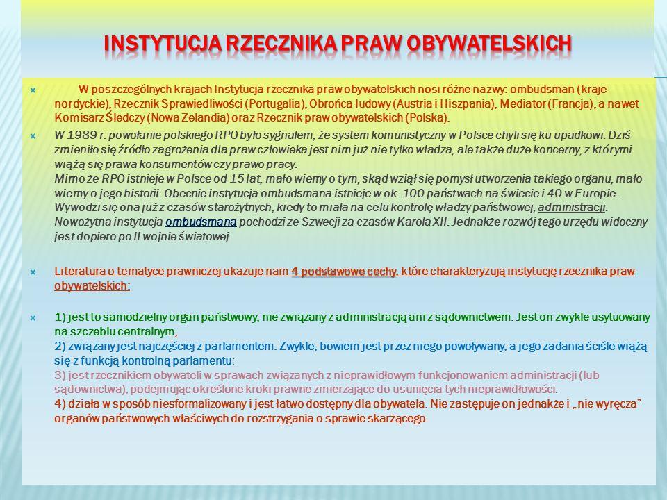 W poszczególnych krajach Instytucja rzecznika praw obywatelskich nosi różne nazwy: ombudsman (kraje nordyckie), Rzecznik Sprawiedliwości (Portugalia), Obrońca ludowy (Austria i Hiszpania), Mediator (Francja), a nawet Komisarz Śledczy (Nowa Zelandia) oraz Rzecznik praw obywatelskich (Polska).