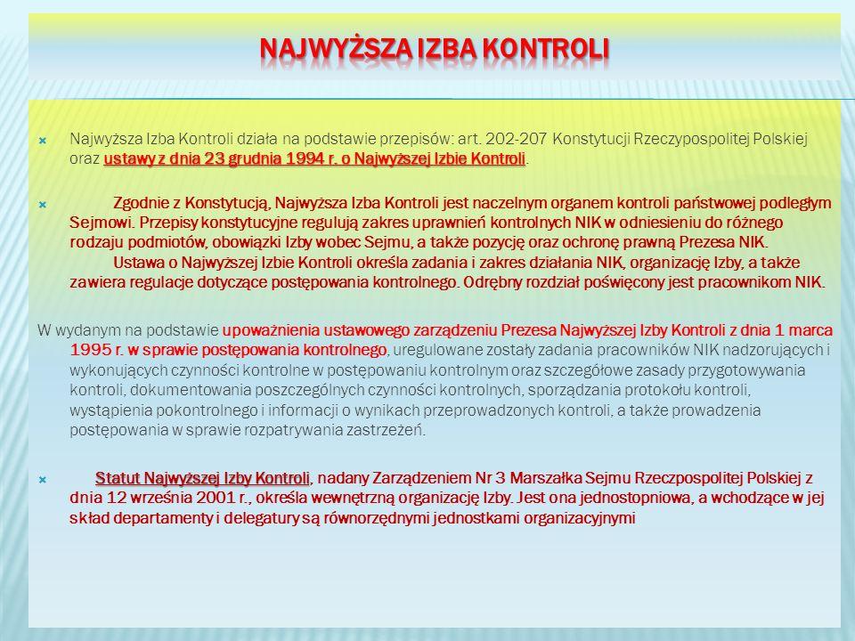 ustawy z dnia 23 grudnia 1994 r. o Najwyższej Izbie Kontroli Najwyższa Izba Kontroli działa na podstawie przepisów: art. 202-207 Konstytucji Rzeczypos
