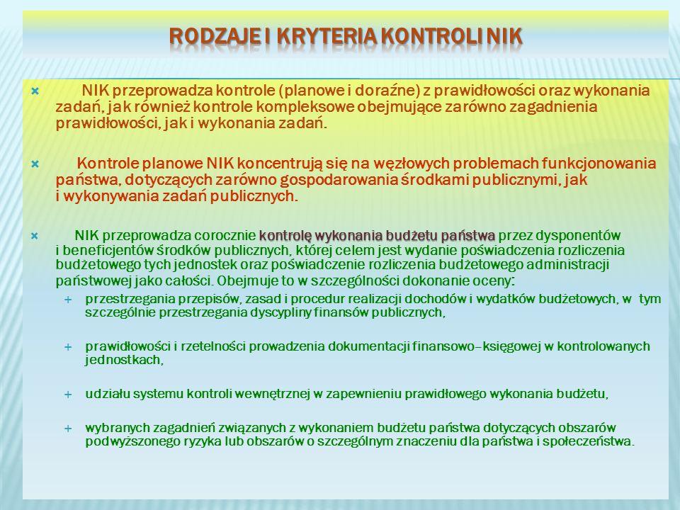 NIK przeprowadza kontrole (planowe i doraźne) z prawidłowości oraz wykonania zadań, jak również kontrole kompleksowe obejmujące zarówno zagadnienia prawidłowości, jak i wykonania zadań.
