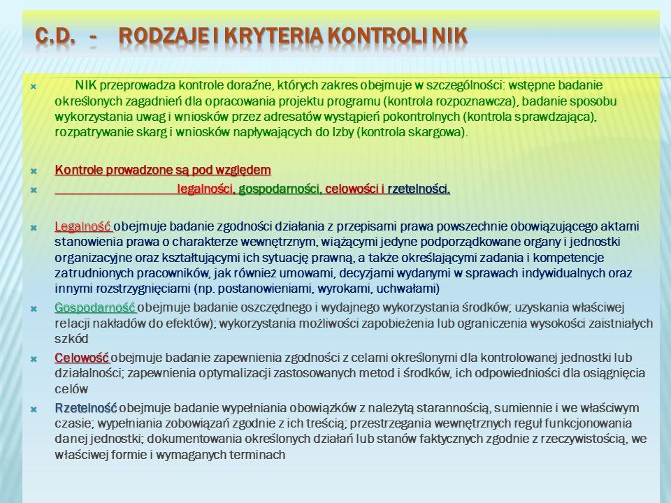 NIK przeprowadza kontrole doraźne, których zakres obejmuje w szczególności: wstępne badanie określonych zagadnień dla opracowania projektu programu (k