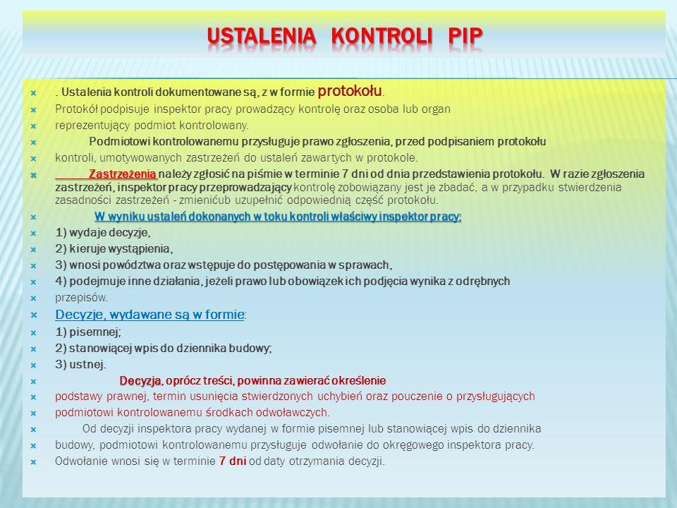 . Ustalenia kontroli dokumentowane są, z w formie protokołu. Protokół podpisuje inspektor pracy prowadzący kontrolę oraz osoba lub organ reprezentując