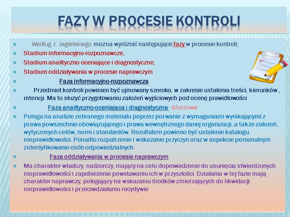 Według J. Jagielskiego można wyróżnić następujące fazy w procesie kontroli; Stadium informacyjno-rozpoznawcze, Stadium analityczno-oceniające i diagno