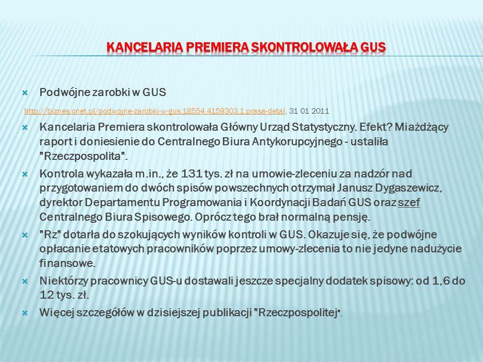 Podwójne zarobki w GUS http://biznes.onet.pl/podwojne-zarobki-w-gus,18554,4159303,1,prasa-detal, 31 01 2011 http://biznes.onet.pl/podwojne-zarobki-w-gus,18554,4159303,1,prasa-detal Kancelaria Premiera skontrolowała Główny Urząd Statystyczny.