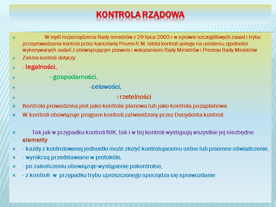 W myśl rozporządzenia Rady ministrów z 29 lipca 2003 r w sprawie szczegółowych zasad i trybu przeprowadzania kontroli przez kancelarię Prezes R.M.