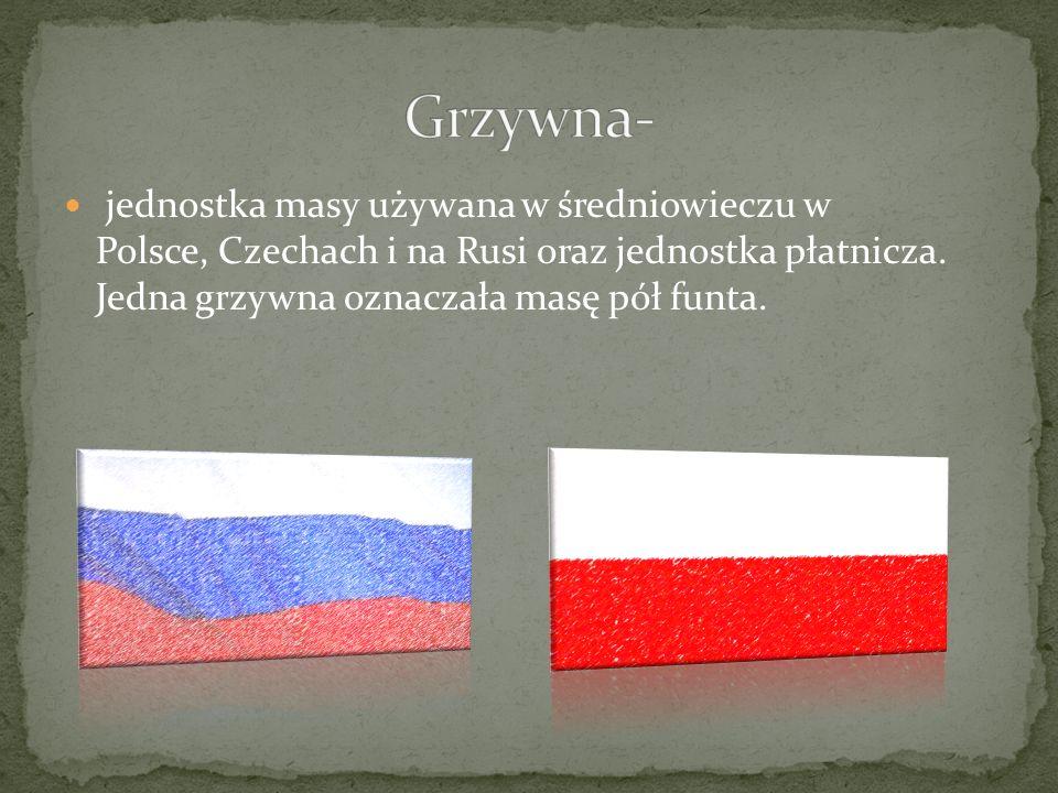jednostka masy używana w średniowieczu w Polsce, Czechach i na Rusi oraz jednostka płatnicza.