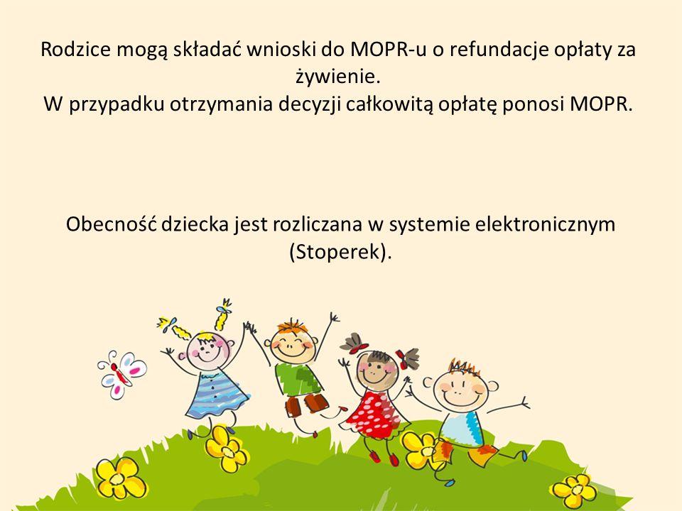 Rodzice mogą składać wnioski do MOPR-u o refundacje opłaty za żywienie. W przypadku otrzymania decyzji całkowitą opłatę ponosi MOPR. Obecność dziecka