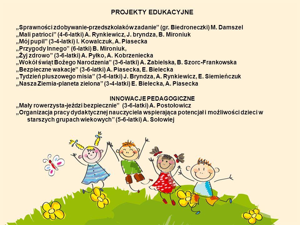 PROJEKTY EDUKACYJNE Sprawności zdobywanie-przedszkolaków zadanie (gr. Biedroneczki) M. Damszel Mali patrioci (4-6-latki) A. Rynkiewicz, J. bryndza, B.