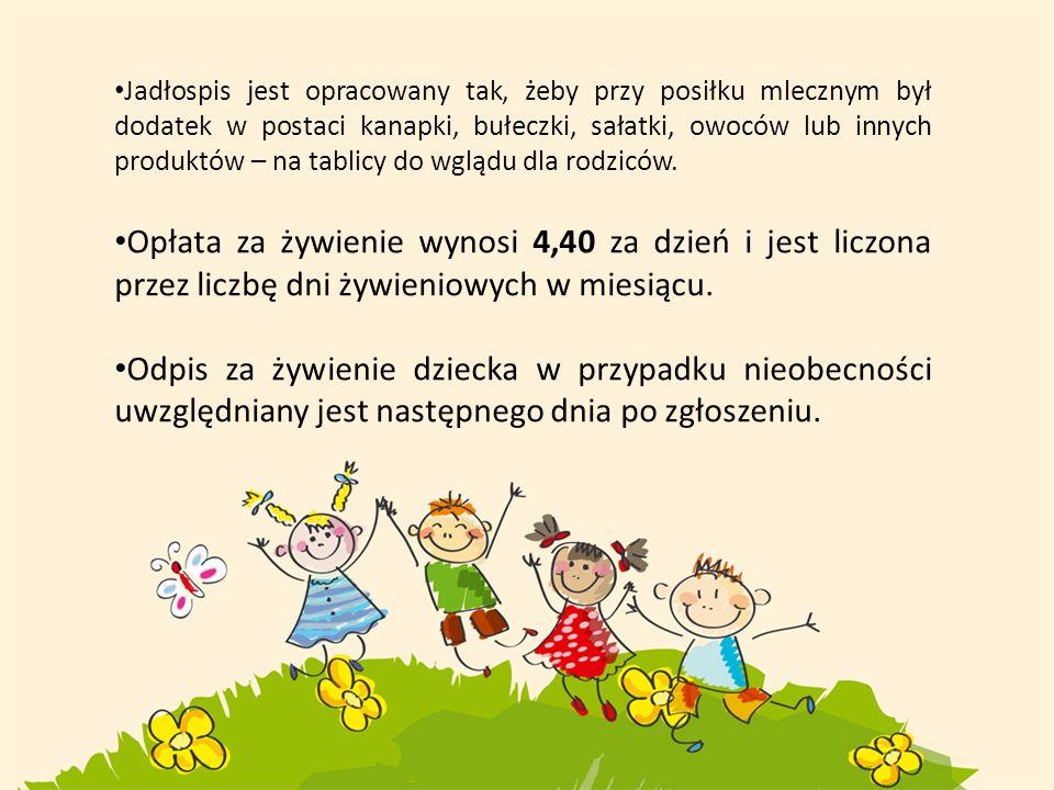 Opłaty za przedszkole uiszczamy do dziesiątego dnia każdego miesiąca.